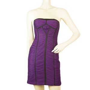 BCBGMAXAZRIA Dress purple draped tule black